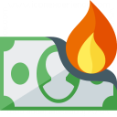 Money Bill Fire Icon 128x128