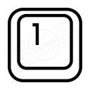Keyboard Key 1 Icon 128x128