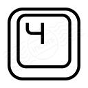Keyboard Key 4 Icon 128x128