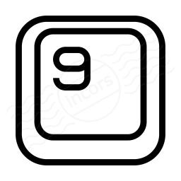 Keyboard Key 9 Icon 256x256
