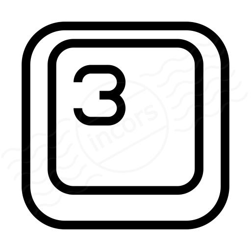 Keyboard Key 3 Icon