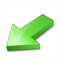 Arrow 2 Down Left Green Icon 128x128
