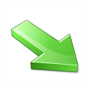 Arrow 2 Down Right Green Icon 128x128