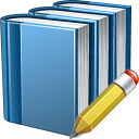 Books Blue Edit Icon 128x128