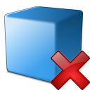Cube Blue Delete Icon 128x128
