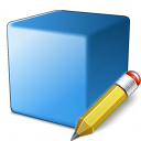 Cube Blue Edit Icon 128x128