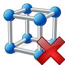 Cube Molecule Delete Icon 128x128