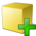 Cube Yellow Add Icon 128x128