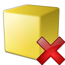 Cube Yellow Delete Icon 128x128