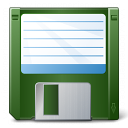 Floppy Disk Green Icon 128x128