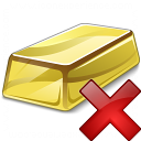 Gold Bar Delete Icon 128x128