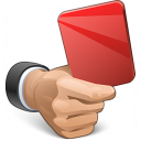 Hand Red Card Icon 128x128