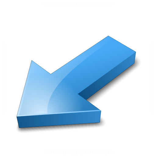 Arrow 2 Down Left Blue Icon