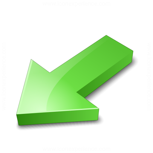Arrow 2 Down Left Green Icon