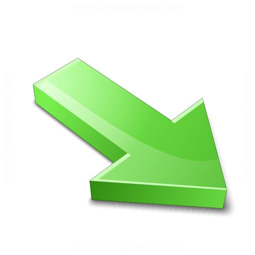 Arrow 2 Down Right Green Icon