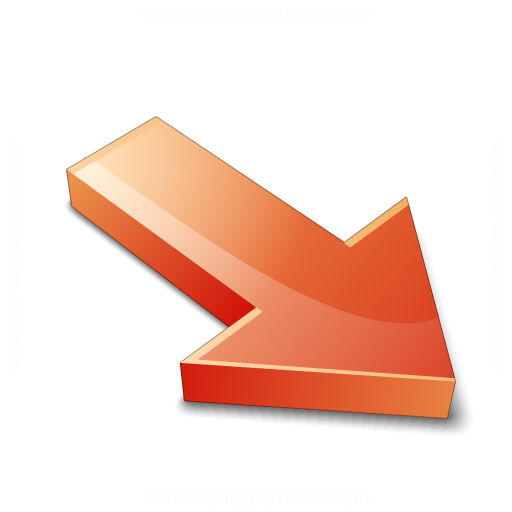 Arrow 2 Down Right Red Icon