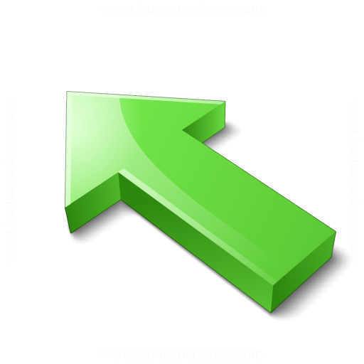 Arrow 2 Up Left Green Icon