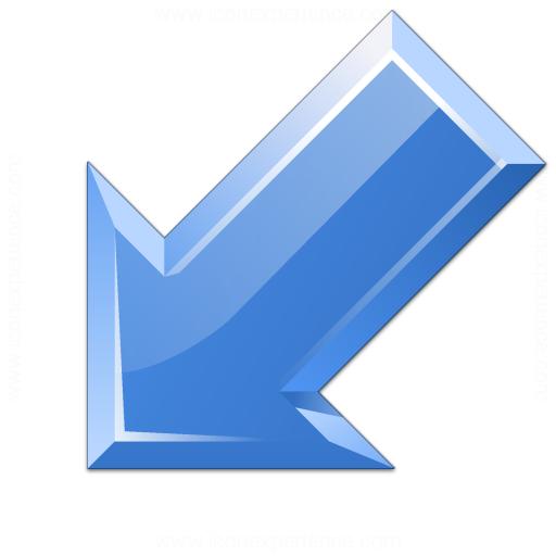 Arrow Down Left Blue Icon