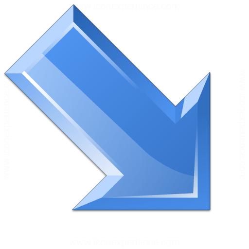 Arrow Down Right Blue Icon