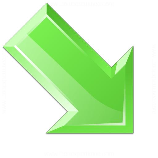 Arrow Down Right Green Icon