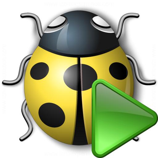 Bug Yellow Run Icon