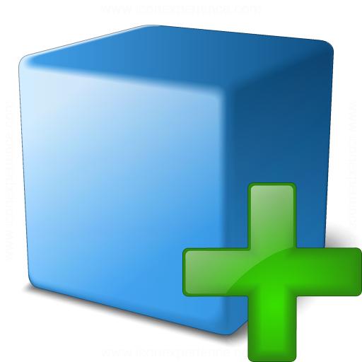 Cube Blue Add Icon