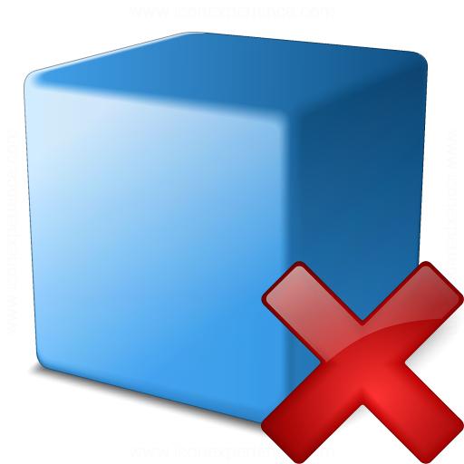 Cube Blue Delete Icon