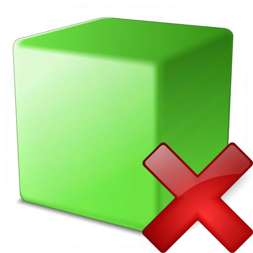 Cube Green Delete Icon