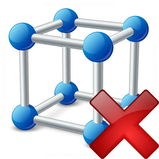 Cube Molecule Delete Icon
