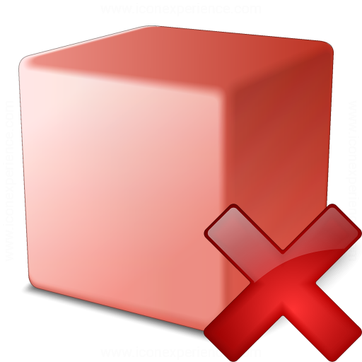 Cube Red Delete Icon