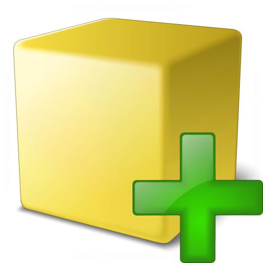 Cube Yellow Add Icon