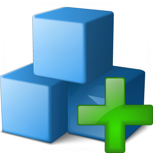 Cubes Blue Add Icon
