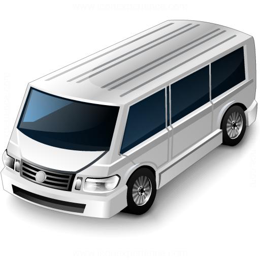 Minibus White Icon