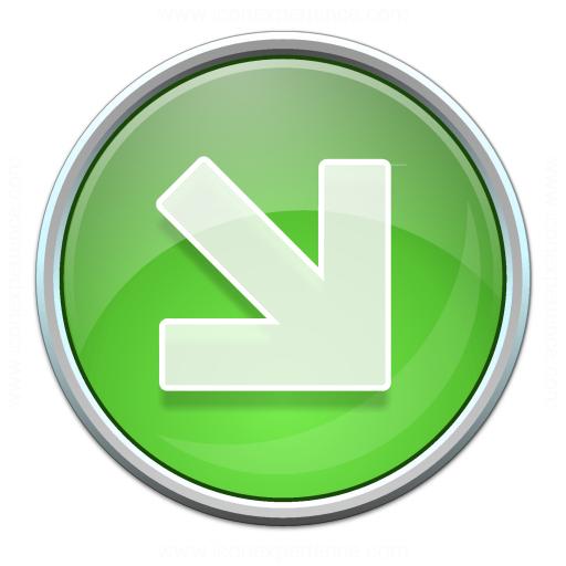 Nav Down Right Green Icon