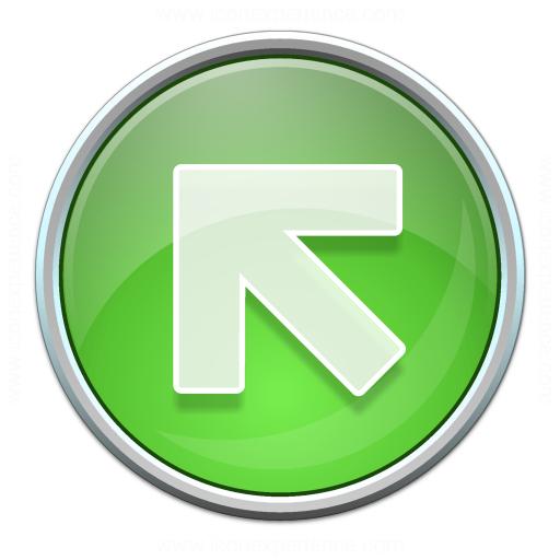 Nav Up Left Green Icon