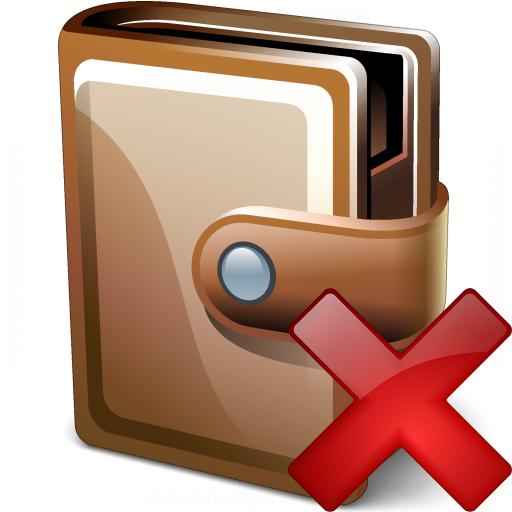 Wallet Closed Delete Icon