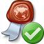 Certificate Ok Icon 64x64