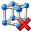 Cube Molecule Delete Icon 64x64