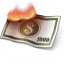 Money Bill Fire Icon 64x64